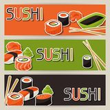 Banners with sushi royalty free illustration