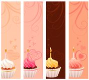 Banners with sweet small cakes. Four banners with sweet small cakes and flourishes Royalty Free Stock Images