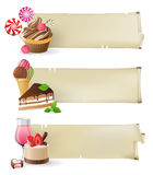 Banners with sweets and candies. 3 retro-styled banners with sweets and candies Royalty Free Stock Photo
