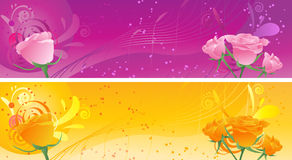 Banners with swirl ornament and roses Royalty Free Stock Image