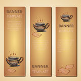 Banners with teapot and cup of tea, tea time, vector Stock Images