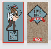 Banners template for live music night Royalty Free Stock Images