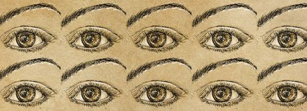 Banners templates  with eyes of a woman design, vintage. Woman Royalty Free Stock Photo