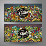 Banners templates set with doodles photo theme. Cartoon cute colorful vector hand drawn doodles photo corporate identity. 2 horizontal banners design. Templates Stock Photography