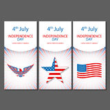 Banners of 4th July backgrounds with American flag. Independence Day hand drawn sketch design vector. Art Stock Image