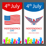 Banners of 4th July backgrounds with American flag. Independence Day hand drawn sketch design vector Stock Images