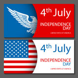 Banners of 4th July backgrounds with American flag. Independence Day hand drawn sketch design vector Stock Photography