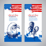 Banners of 4th July backgrounds with American flag Royalty Free Stock Image