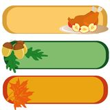 Banners for Thanksgiving Day. Three banners for Thanksgiving Day (with turkey, maple leaves and acorns). Vector illustration Royalty Free Stock Image