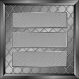 Banners. Three metallic banners on wire mesh background Stock Images