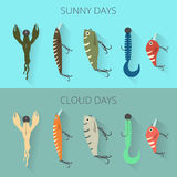 Banners with tip choice bait for fishing with respect to the weather. sunny and cloudy day Stock Images