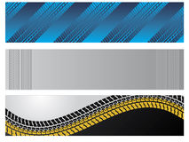 Banners with tire tracks Stock Photo