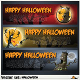 Banners to prepare for the holiday Halloween Stock Image