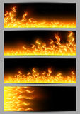Banners with tongues of flame. Illustration of banners with fire flame borders on black background Stock Image