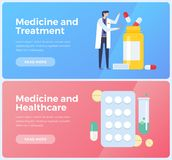 Banners on topic of medicine, treatment and healthcare. Image of doctor and various  medicines. Flat vector illustration Royalty Free Stock Photo