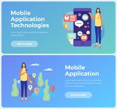 Banners on topic mobile application and Information technologies. Concept social networks and communication on Internet. Young woman with mobile phone and Royalty Free Stock Photos