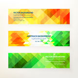 Banners in triangle style. Set of modern horizontal vector banners. Triangle decor, geometric pattern in Indian color concept. Design concept for your project Stock Image