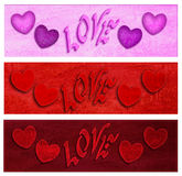 Banners for Valentine 3 st Stock Photo