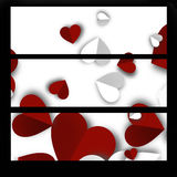 Banners Valentines Day. With paper hearts vector illustration