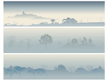 Banners valley with trees in a morning fog. Royalty Free Stock Photos