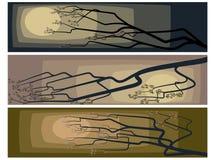Banners van abstracte tekening van een tot bloei komende boom. Stock Afbeelding