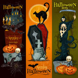 Banners van de de partijdecoratie van Halloween de griezelige royalty-vrije illustratie
