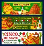 Banners van de de fiestapartij van Cinco de Mayo Mexican de vector