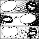 Banners van de pop-art de horizontale lip vector illustratie