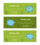 Banners van de de vijverreclame van de beeldverhaal de vectortuin met water, planten en dieren Royalty-vrije Stock Afbeeldingen