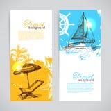 Banners van reis kleurrijk tropisch ontwerp Stock Foto