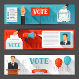 Banners van stem de politieke verkiezingen Achtergronden voor campagnepamfletten, websites en flayers Royalty-vrije Stock Foto