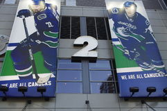 Banners of Vancouver Canucks hockey players. Banners of Vancouver Canucks NHL hockey team players at Rogers Arena Stock Photo