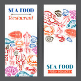 Banners with various seafood. Illustration of fish, shellfish and crustaceans.  Stock Photo