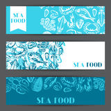 Banners with various seafood. Illustration of fish, shellfish and crustaceans.  Royalty Free Stock Photo