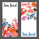 Banners with various seafood. Illustration of fish, shellfish and crustaceans.  Stock Photography