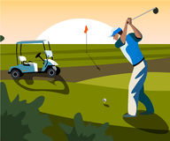 Banners vector image of sports equipment for Golf. The golfer will hit the ball towards the hole Stock Photos