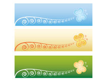 Banners with vintage butterflies. Set of banners with vintage butterflies Stock Photos