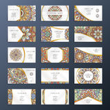 Banners or visit cards with mandala decoration on them. Arabic or indian oriental design. Vector collection set Stock Photos