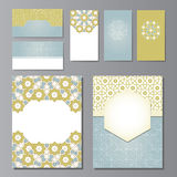 Banners and visit cards templates. Set with arabic ornament, illustration stock illustration