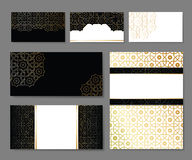 Banners and visit cards templates. Set  with arabic ornament,  illustration Stock Photos