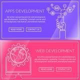 Banners voor apps en Webontwikkeling Vector Illustratie