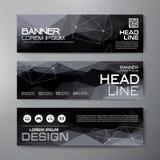 Banners voor bedrijfs modern ontwerp worden geplaatst dat Veelhoekige geometrische rug Royalty-vrije Stock Afbeeldingen
