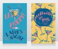 Banners voor de partij van de damesnacht met heldere cocktails Royalty-vrije Stock Foto's