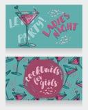 Banners voor de partij van de damesnacht met heldere cocktails Stock Afbeeldingen