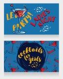 Banners voor de partij van de damesnacht met heldere cocktails Royalty-vrije Stock Afbeelding