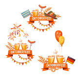 Banners voor Oktoberfest-viering Bier en Stock Foto