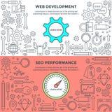 Banners voor Webontwikkeling en Prestaties Royalty-vrije Illustratie