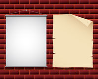 Banners On The Wall. Promotional paper and canvas banners on a wall stock illustration