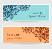 Banners with water color abstract flowers in blue orange brown Royalty Free Stock Image