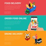 Banners for web site online food order, food delivery and drone delivery.. Banners for web site online food order, food delivery and drone delivery. Online Royalty Free Stock Image